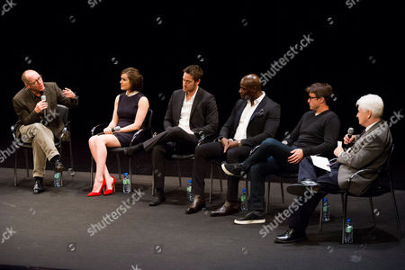 "James Spader, from left, Megan Boone, Ryan Eggold, Hisham Tawfiq, John Fox and Bill Carter participate in a panel discussion at the Television Academy Presents an Evening with ""The Blacklist"" on in New York"