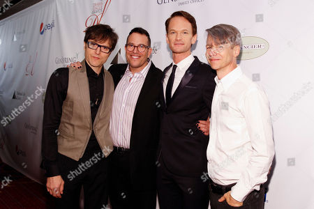 Stephen Trask, Michael Mayer, Neil Patrick Harris, and John Cameron Mitchell seen at the 80th Annual Drama League Awards at Marriott Marquis Times Square on in New York