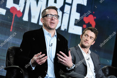 "Director Rob Thomas, left, and Robert Buckley speak during the ""iZombie"" panel at The CW 2015 Winter TCA, in Pasadena, Calif"