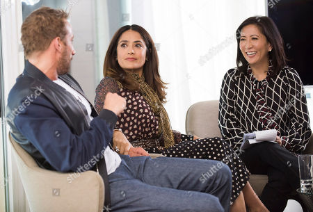 Matthias Schoenaerts, Salma Hayek and Janice Min, President & Chief Creative Officer of The Hollywood Reporter seen at The Hollywood Reporter and Kering Women in Motion conversation at the Majestic Hotel on in Cannes, France