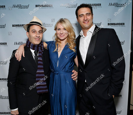 Untitled Management's Jason Weinberg, Naomi Watts and Bombardier's Paul Vitagliano are seen at The Hollywood Reporter's Palm Springs Shuttle presented by Bombardier Business Aircraft - Day 2, on in Palm Springs, California