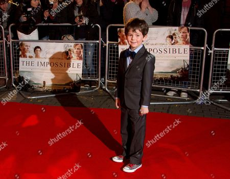 Stock Picture of Oaklee Pendergast who plays Simon Belon arrives for the UK Premiere of The Impossible at the BFI Imax in central London
