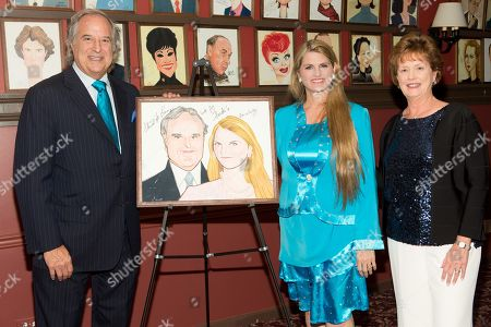 "Stewart F. Lane - aka ""Mr. Broadway, Bonnie Comley and Jacquie Moloney are seen at UMass Lowell Celebration of Sardi's Caricature of Stewart F. Lane & Bonnie Comley at Sardi's on"