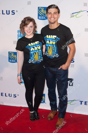Aislinn Paul and Luke Bilyk seen during We Day at the Air Canada Centre, in Toronto, Canada