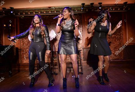 "Leanne Lyons, Cheryl Clemons SWV Reunited"" cast members, from left, Leanne ""Lelee"" Lyons, Cheryl ""Coko"" Clemons and Taj Johnson George perform at the WE tv Holiday Showcase at 54 Below on in New York"