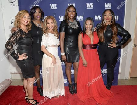 "Cast members from ""SWV Reunited"" and ""Love Thy Sister"", from left, Ruby Rucker, Taj Johnson George, Ione Rucker, Cheryl Clemons, Ellen Rucker Carter and Leanne Lyons attend the WE tv Holiday Showcase at 54 Below on in New York"