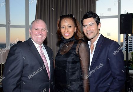 "Stock Photo of Actors James DuMont, Tamara Tunie, David DeSantos attend the ""Broadway To Hollywood"" Cocktail Event - Inside held at Sunset Towers on in Los Angeles, California"