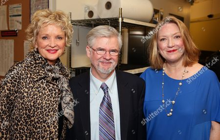 """From left, cast member Christine Ebersole, playwright Christopher Durang and cast member Kristine Nielsen pose backstage after the opening night performance of """"Vanya and Sonia and Masha and Spike"""" at the Center Theatre Group/Mark Taper Forum, in Los Angeles, Calif"""