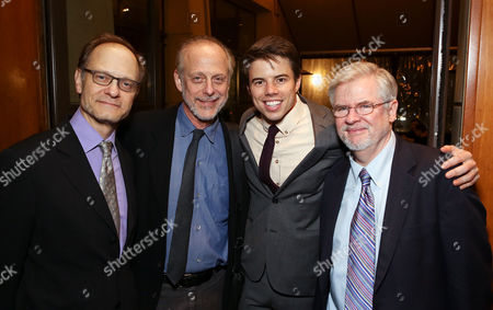 """From left, director David Hyde Pierce, cast member Mark Blum, cast member David Hull and playwright Christopher Durang pose during the party for the opening night performance of """"Vanya and Sonia and Masha and Spike"""" at the Center Theatre Group/Mark Taper Forum, in Los Angeles, Calif"""