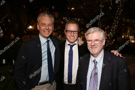 """From left, CTG Artistic Director Michael Ritchie, writer John Augustine and playwright Christopher Durang pose during the party for the opening night performance of """"Vanya and Sonia and Masha and Spike"""" at the Center Theatre Group/Mark Taper Forum, in Los Angeles, Calif"""