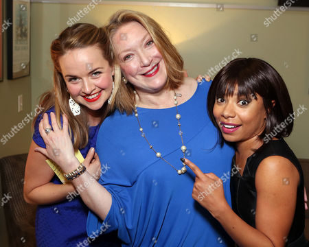 "From left, cast members Liesel Allen Yeager, Kristine Nielsen and Shalita Grant pose backstage after the opening night performance of ""Vanya and Sonia and Masha and Spike"" at the Center Theatre Group/Mark Taper Forum, in Los Angeles, Calif"