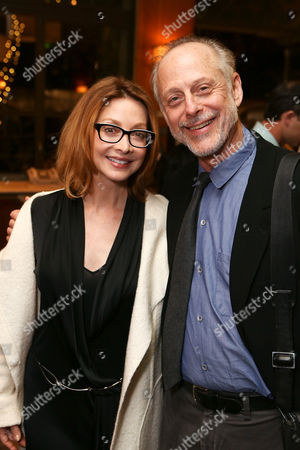 """Stock Image of From left, actress Sharon Lawrence and cast member Mark Blum pose during the party for the opening night performance of """"Vanya and Sonia and Masha and Spike"""" at the Center Theatre Group/Mark Taper Forum, in Los Angeles, Calif"""