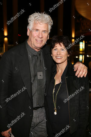 """From left, actor Barry Bostwick and Sherri Jensen pose during the arrivals for the opening night performance of """"Vanya and Sonia and Masha and Spike"""" at the Center Theatre Group/Mark Taper Forum, in Los Angeles, Calif"""