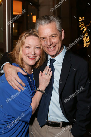 """From left, cast member Kristine Nielsen and CTG Artisic Director Michael Ritchie pose during the party for the opening night performance of """"Vanya and Sonia and Masha and Spike"""" at the Center Theatre Group/Mark Taper Forum, in Los Angeles, Calif"""