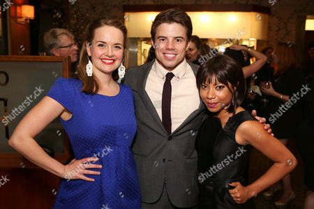 "Stock Picture of From left, cast members Liesel Allen Yeager, David Hull and Shalita Grant pose during the party for the opening night performance of ""Vanya and Sonia and Masha and Spike"" at the Center Theatre Group/Mark Taper Forum, in Los Angeles, Calif"