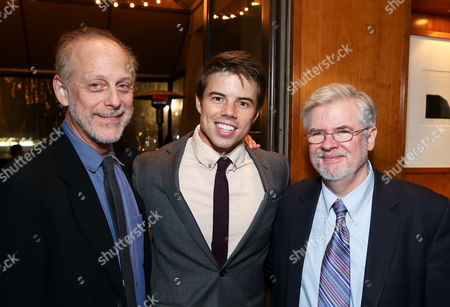 """From left, cast members Mark Blum, David Hull and playwright Christopher Durang pose during the party for the opening night performance of """"Vanya and Sonia and Masha and Spike"""" at the Center Theatre Group/Mark Taper Forum, in Los Angeles, Calif"""