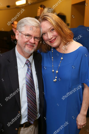 """From left, playwright Christopher Durang and cast member Kristine Nielsen pose backstage after the opening night performance of """"Vanya and Sonia and Masha and Spike"""" at the Center Theatre Group/Mark Taper Forum, in Los Angeles, Calif"""