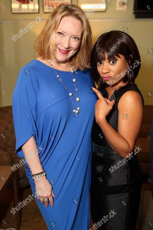 """From left, cast members Kristine Nielsen and Shalita Grant pose backstage after the opening night performance of """"Vanya and Sonia and Masha and Spike"""" at the Center Theatre Group/Mark Taper Forum, in Los Angeles, Calif"""