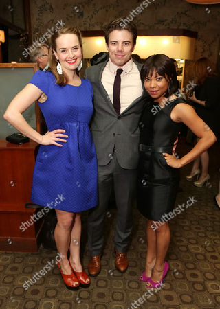 "From left, cast members Liesel Allen Yeager, David Hull and Shalita Grant pose during the party for the opening night performance of ""Vanya and Sonia and Masha and Spike"" at the Center Theatre Group/Mark Taper Forum, in Los Angeles, Calif"