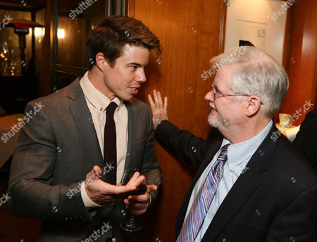 """From left, cast member David Hull and playwright Christopher Durang talk during the party for the opening night performance of """"Vanya and Sonia and Masha and Spike"""" at the Center Theatre Group/Mark Taper Forum, in Los Angeles, Calif"""