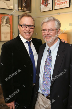 """From left, writer John Augustine and playwright Christopher Durang pose backstage after the opening night performance of """"Vanya and Sonia and Masha and Spike"""" at the Center Theatre Group/Mark Taper Forum, in Los Angeles, Calif"""