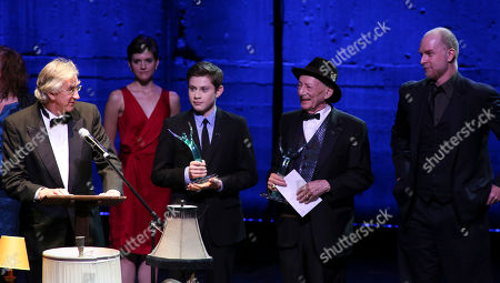 """From left, Barry McGovern accepts the Ovation on behalf of the rest of the cast of """"Waiting for Godot"""", LJ Benet, Alan Mandell and Hugo Armstrong during the 2012 LA Stage Alliance Ovation Awards ceremony held at the Los Angeles Theatre, in Los Angeles, Calif"""