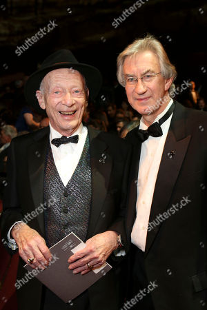 """From left, actors Alan Mandell who won Lead Actor in a Play for his role as Estragon in """"Waiting for Godot"""" and """"Godot"""" co-star actor Barry McGovern pose during the 2012 LA Stage Alliance Ovation Awards ceremony held at the Los Angeles Theatre, in Los Angeles, Calif"""