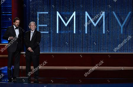 Stock Image of SEPTEMBER 15: (L-R) Silas Weir Mitchell and Jim Kouf onstage at the Academy of Television Arts & Sciences 64th Primetime Creative Arts Emmy Awards at Nokia Theatre L.A. Live on in Los Angeles, California