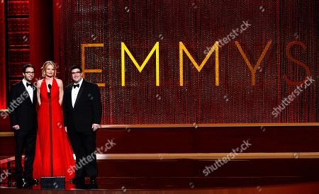 SEPTEMBER 15: (L-R) Eddy Kitsis, Jennifer Morrison and Adam Horowitz onstage at the Academy of Television Arts & Sciences 64th Primetime Creative Arts Emmy Awards at Nokia Theatre L.A. Live on in Los Angeles, California