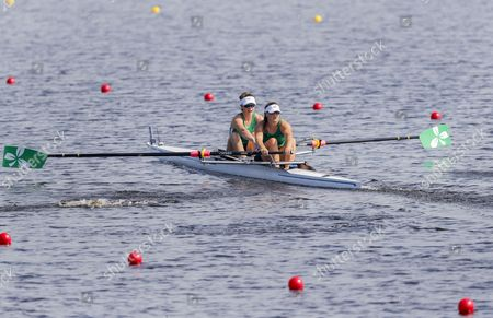 The Women's Pair team of Aifric Keogh (L) and Aileen Crowley (R) of Ireland compete in a heat during the 2017 World Rowing Championships at Nathan Benderson Park in Sarasota, Florida, USA, 25 September 2017. The regatta continues through 01 October.