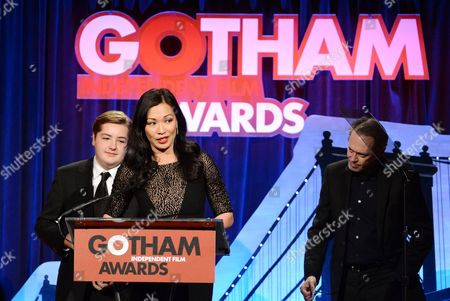 Actor James Gandolfini's widow Deborah Lin and son Michael Gandolfini appear on stage after a tribute to the late actor at the 23rd Annual Gotham Independent Film Awards at Cipriani's Wall Street on in New York
