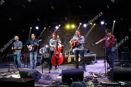 The Bluegrass Situation SuperJam hosted by Ed Helms featuring the Lonesome Trio, Dierks Bentley, Sarah Jarosz, Lake Street Dive, The Black Lillies, The Lone Bellow, The Avett Brothers, Robert Ellis, Bryan Sutton, Danny Clinch, and Dave Johnston of YMSB performs at the 2014 Bonnaroo Music and Arts Festival, in Manchester, Tennessee