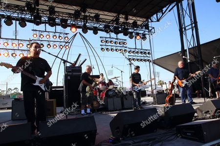 Cesar Rosas, Conrad Lozano, Enrique Gonzalez, Louie Perez, David Hidalgo and Steve Berlin (L-R) of Los Lobos performs at the 2014 Hangout Music Festival, in Gulf Shores, Alabama
