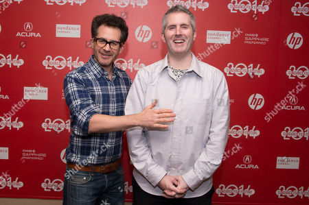"""Stock Picture of Directors Jonathan Milott and Cary Murnion pose for a picture at the world premiere of the film """"Cooties"""" during the 2014 Sundance Film Festival, on in Park City, Utah"""