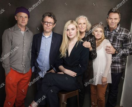 Flea, Jeff Preiss, Elle Fanning, Glenn Close, Amy-Jo Albany and Tim Daly pose for a portrait at Quaker Good Energy Lodge with GenArt and the Collective, during the Sundance Film Festival, on in Park City, Utah