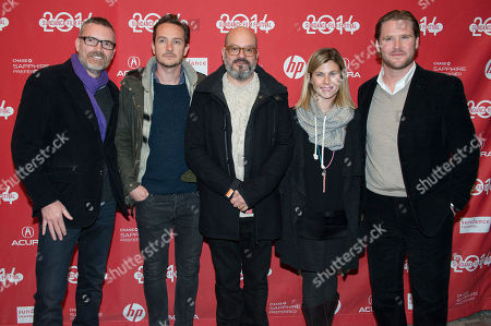 """Stock Picture of Charles James Denton, Giles Andrew, Director David Cross, Jessica Latham and Ryan A. Brooks pose at the premiere of the film """"Hits """" during the 2014 Sundance Film Festival, on in Park City, Utah"""