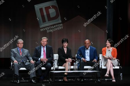 """Retired detective Lt. Joe Kenda, from left, journalist Chris Hansen, former FBI criminal profiler Candice Delong, journalist Tony Harris, and Senior Vice president of Production Sara Kozak speak onstage during the """"A New Season of ID"""" panel at the Discovery Communications 2015 Summer TCA Tour held at the Beverly Hilton Hotel, in Beverly Hills, Calif"""