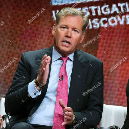 """Journalist and host of """"Killer Instinct"""" Chris Hansen speaks during the """"a New Season of ID"""" panel at the Discovery Communications 2015 Summer TCA Tour held at the Beverly Hilton Hotel on in Beverly Hills, Calif"""
