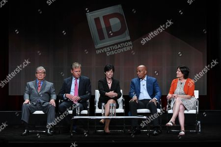 """Retired detective Lt. Joe Kenda, from left, journalist Chris Hansen, former FBI criminal profiler Candice Delong, journalist Tony Harris, and senior vice president of production Sara Kozak speak onstage during the """"A New Season of ID"""" panel at the Discovery Communications 2015 Summer TCA Tour held at the Beverly Hilton Hotel on in Beverly Hills, Calif"""