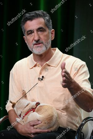 """Stock Photo of Bill Berloni, Co-Owner and President of William Berloni Theatrical Animals speaks onstage during the """"From Wags to Riches with Bill Bill Berloni and Lost & Found"""" panel at the Discovery Communications 2015 Summer TCA Tour held at the Beverly Hilton Hotel on in Beverly Hills, Calif"""