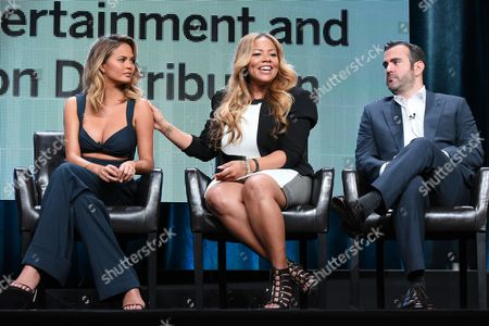 "Chrissy Teigen, from left, Lauren Makk and executive producer Shane Farley participate in the ""FABLife"" panel at the Disney/ABC Summer TCA Tour at the Beverly Hilton Hotel, in Beverly Hills, Calif"