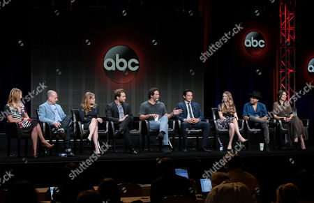 """Stock Photo of Executive producer Amy B. Harris, from left, creator/executive producer Steven Baigelman, Erika Christensen, Ed Westwick, Jeremy Sisto, Gabriel Luna, Taissa Farmiga, Evan Ross and Karolina Wydra participate in the """"Wicked City"""" panel at the Disney/ABC Summer TCA Tour at the Beverly Hilton Hotel, in Beverly Hills, Calif"""