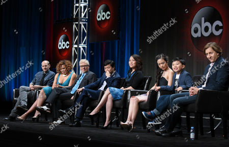 """Jonathan Slavin, from left, Tisha Campbell-Martin, Dave Foley, Ken Jeong, Suzy Nakamura, Krista Marie Yu, Albert Tsai and Executive Producer Mike Sikowitz participate in the """"Dr. Ken"""" panel at the Disney/ABC Summer TCA Tour at the Beverly Hilton Hotel, in Beverly Hills, Calif"""