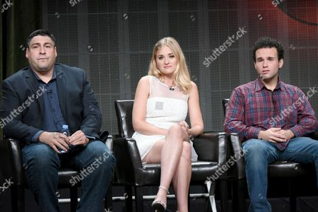 """Creator/executive producer Adam Goldberg, from left, AJ Michalka and Troy Gentile participate in """"The Goldbergs"""" panel at the Disney/ABC Summer TCA Tour at the Beverly Hilton Hotel, in Beverly Hills, Calif"""