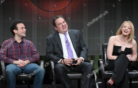 """Troy Gentile, from left, Jeff Garlin and Wendi McLendon-Covey participate in """"The Goldbergs"""" panel at the Disney/ABC Summer TCA Tour at the Beverly Hilton Hotel, in Beverly Hills, Calif"""