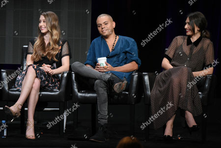 """Taissa Farmiga, from left, Evan Ross and Karolina Wydra participate in the """"Wicked City"""" panel at the Disney/ABC Summer TCA Tour at the Beverly Hilton Hotel, in Beverly Hills, Calif"""