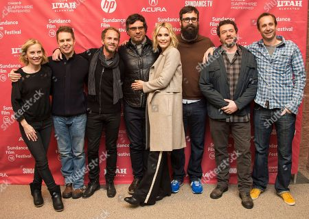 "Actress Amy Ryan, actor Sam Rockwell, producer Brandt Andersen, actor and Jemaine Clement, actress Leslie Bibb, director Jared Hess, actor Danny McBride and producer Dave Hunter attend the ""Don Verdean"" premiere during the 2015 Sundance Film Festival, in Park City, Utah"