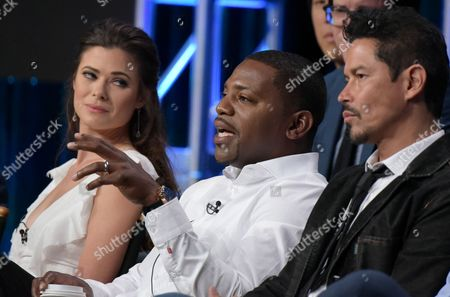 "Peyton List, from left, Mekhi Phifer and Anthony Ruivivar participate in the ""Frequency"" panel during The CW Television Critics Association summer press tour, in Beverly Hills, Calif"
