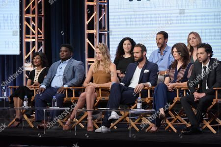 "Stock Photo of Executive producers Maggie Friedman, from back row left, Ben Silverman, Corinne Brinkerhoff, and from front row left, actors Sarayu Blue, Jonathan Langdon, Tori Anderson, Joshua Sasse, Amy Pietz and Jesse Rath participate in the ""No Tomorrow"" panel during The CW Television Critics Association summer press tour, in Beverly Hills, Calif"