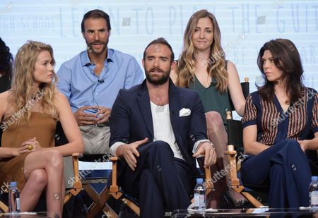 """Executive producer Ben Silverman, from back row left, Corinne Brinkerhoff, and from front row left, actors Tori Anderson, Joshua Sasse and Amy Pietz participate in the """"No Tomorrow"""" panel during The CW Television Critics Association summer press tour, in Beverly Hills, Calif"""